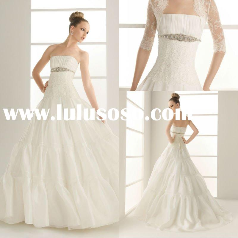 Sizes Available Elegant Strapless Chapel Train A-line Tulle Pleated Beaded bridal wedding dress