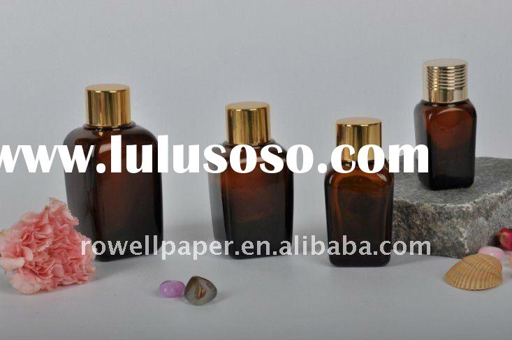 Square essential oil amber glass bottles with aluminum cap