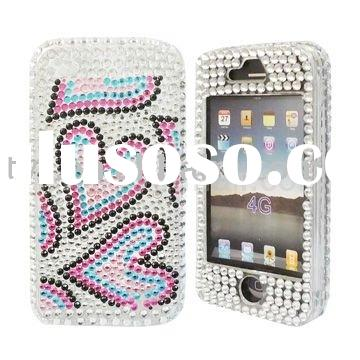 Sweet Hearts Bling Diamond Snap-on Cover Case for Apple iPhone 4 4G