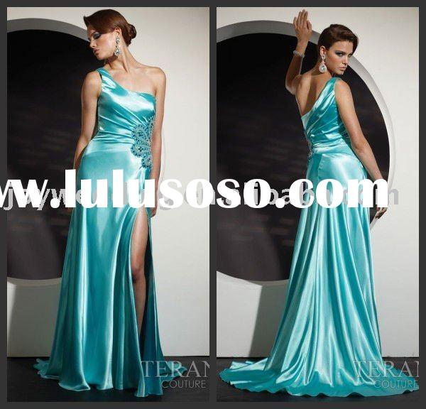 TC0050 Terani couture 2011 Best hotsale Flowing Strapless silk satin gown long one shoulder dress