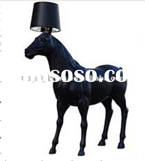 Tall and big horse floor lamp with conic fabric shade