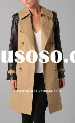 Trench Coat with Leather Sleeves, women COATS fashion, women winter COAT