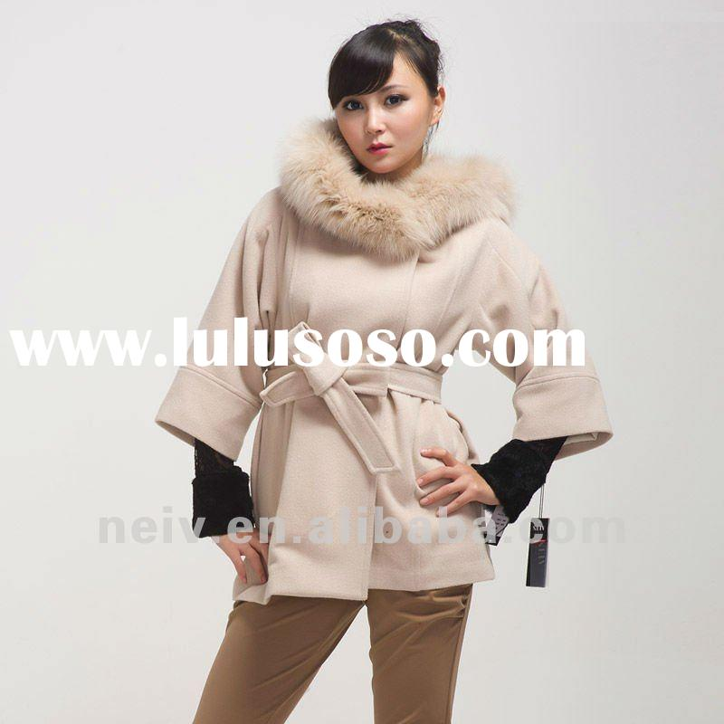 Wool cashmere women coat,fox fur,belted,Europe and America style DF1133