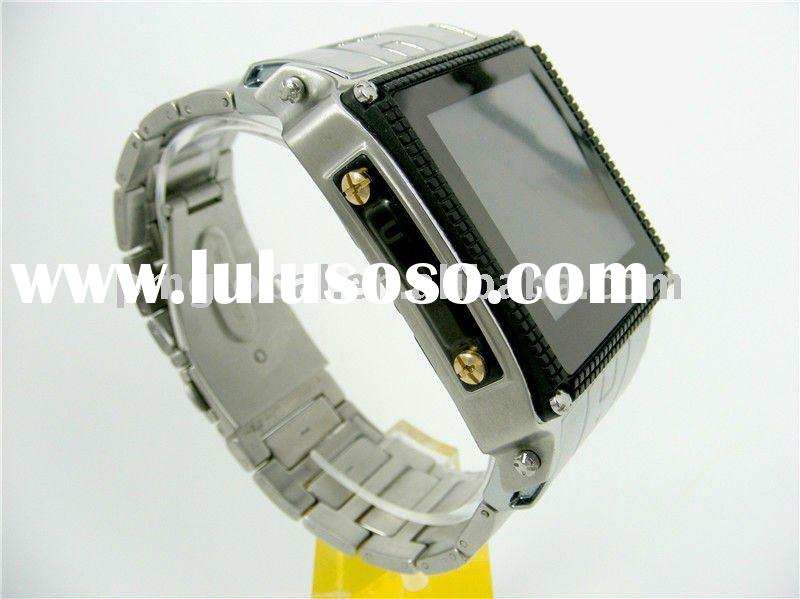 Wrist Watch Cell Phone ( 2011 new Stainless Steel Waterproof watch mobile phone, Stereo FM radio wit