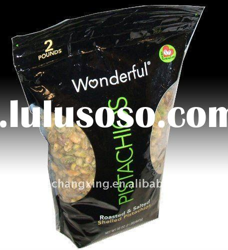 black color stand up zipper plastic bag with transparent window for roasted cashew or dried grain