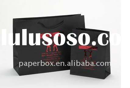 black high gloss paper bag with hot stamp logo and ribbon