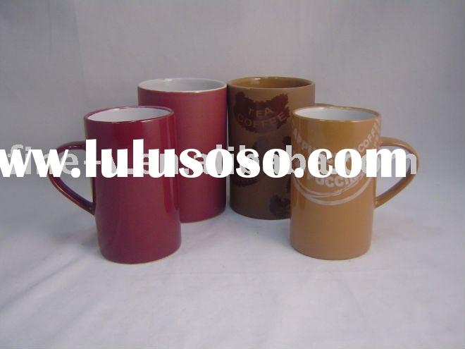 ceramic cylindrical coffee mug/cup with various colors