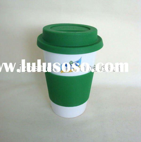 ceramic mug with silicone lid and grip