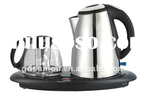 electric tea kettle with stainless steel kettle and glass tea pot