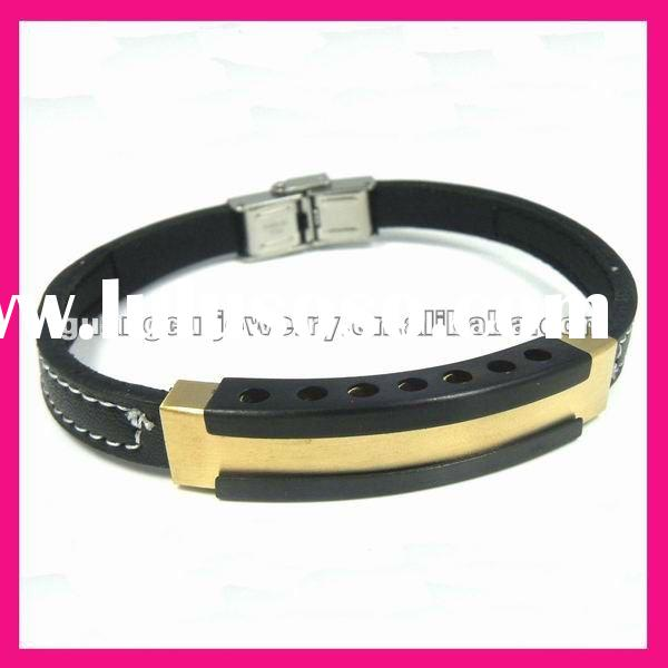 fashion black leather steel gold plated bangle bracelet high end mens jewelry