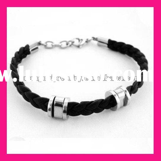 fashion stainless steel black leather charming steel bangle bracelets for men