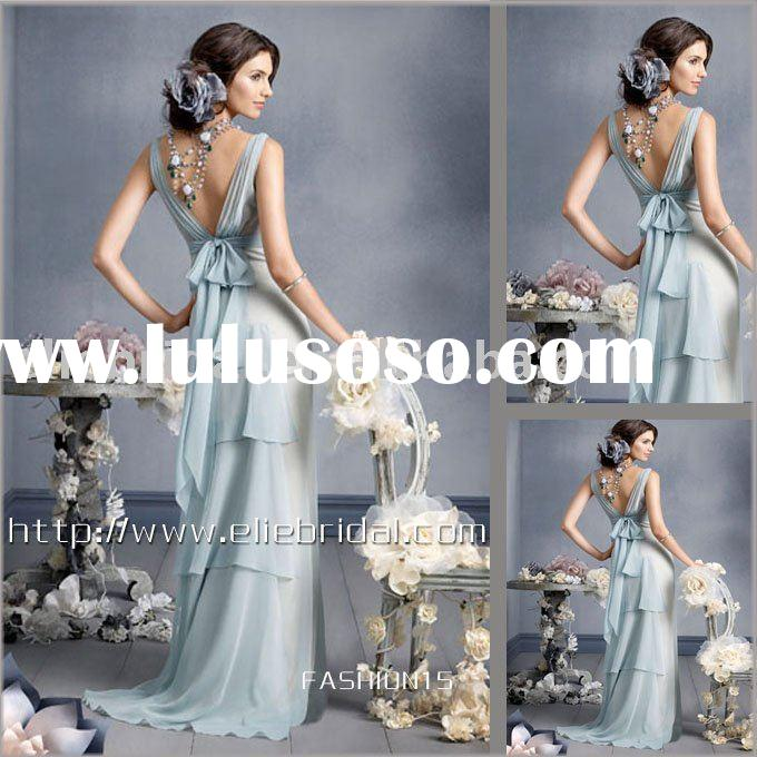 flowing chiffon long v-neck evening dress with deep V-neck with ruched waistband, V-back and full sk