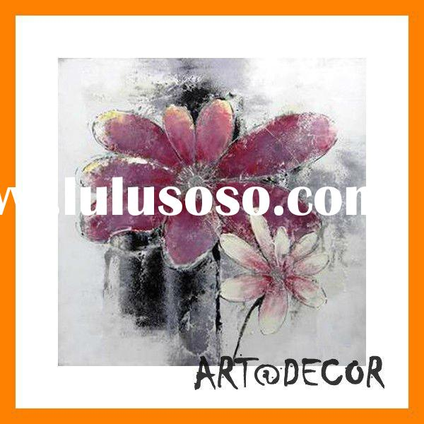 high quality best price handpainted abstract flower fabric painting designs for wall decoration