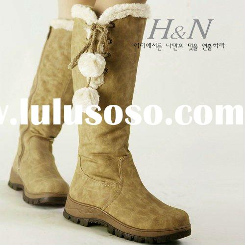 leather boots women red