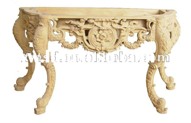 Unfinished Italian Style Solid Wood Coffee Table By Hand Carving