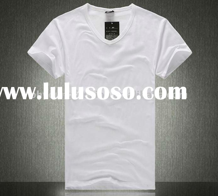 wholesale High quality men's 100% cotton white blank V-neck short sleeved t-shirt