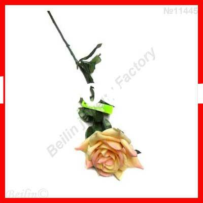 wholesale single glitter yellow artificial rose flowers for Valentine's Day