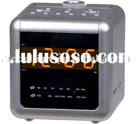 "0.9"" amber LED Dual alarm projection clock radio"