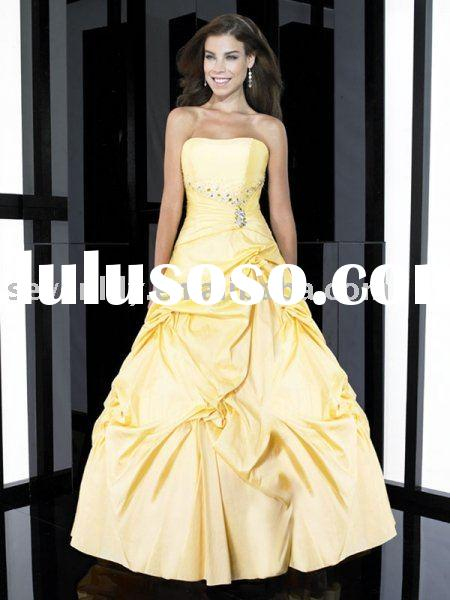 2011 New Stuning Taffeta Yellow Prom Dresses