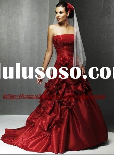 2011 Newest Design Off-shoulder Ballgown Red Wedding Dresses