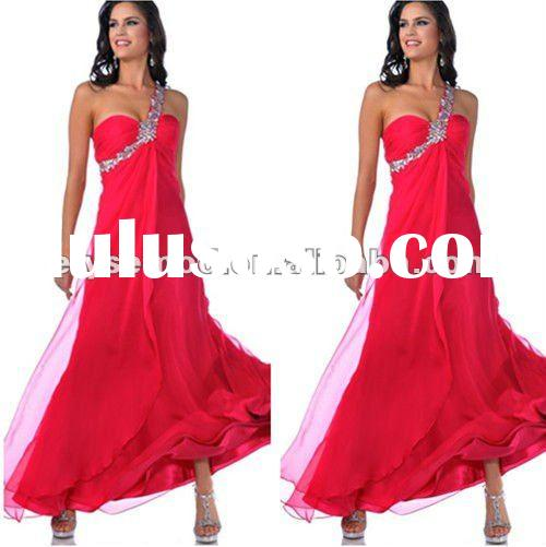 2012 Newly Arrivals One Shoulder Hot Pink Ankle Length Maid of Honor Dress