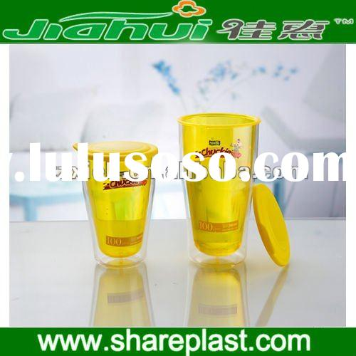 2012 plastic double wall cup with lid