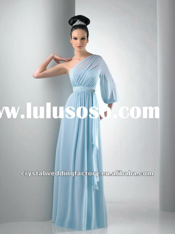 2012 unique one long sleeve asymmetrical ruched light sky blue custom-made formal evening dresses CW