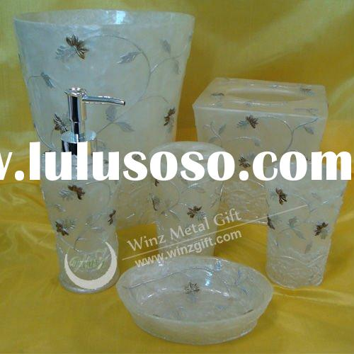 6 Bath set,lotion dispenser/toothbrush holder/tumbler/soap dish/tissue box/waste basket(White) WZ-S1