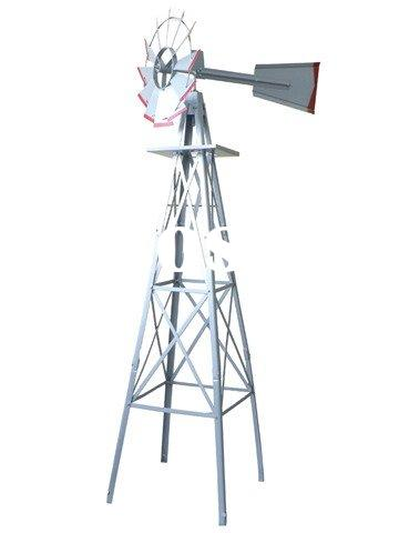 6ft Grey Metal Windmill Garden Ornament