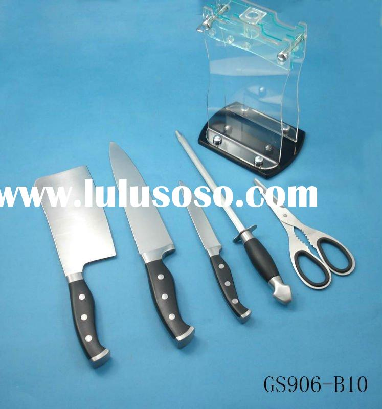 ABS handle kitchen knife with block