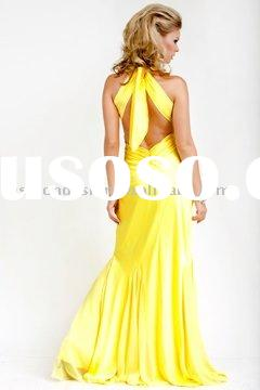 AYP407 Beautiful yellow backless Trumpet prom dresses