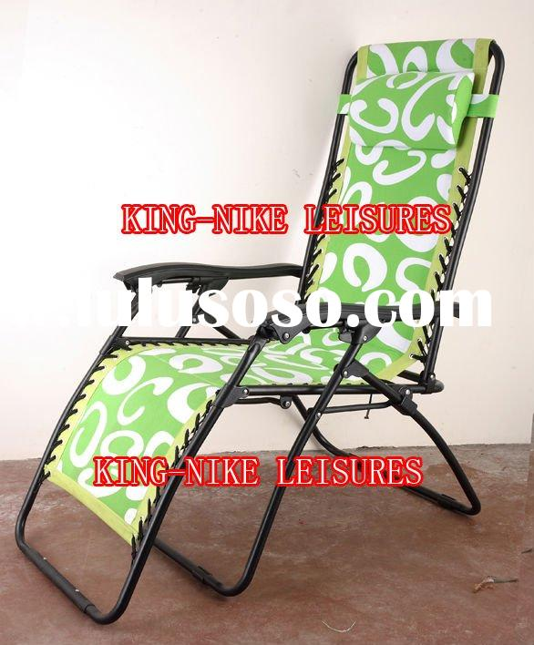 Beach folding lounge chair with pillow