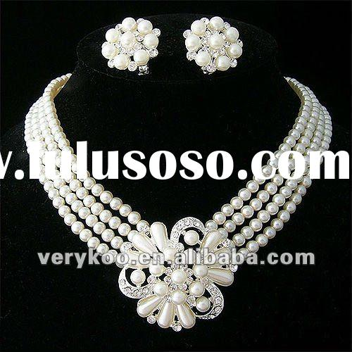Costume Fashion Pearl Necklace and Earring Jewelry Set FCA-15020