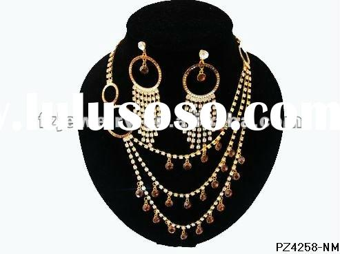 Crystal beads indian bridal jewelry sets