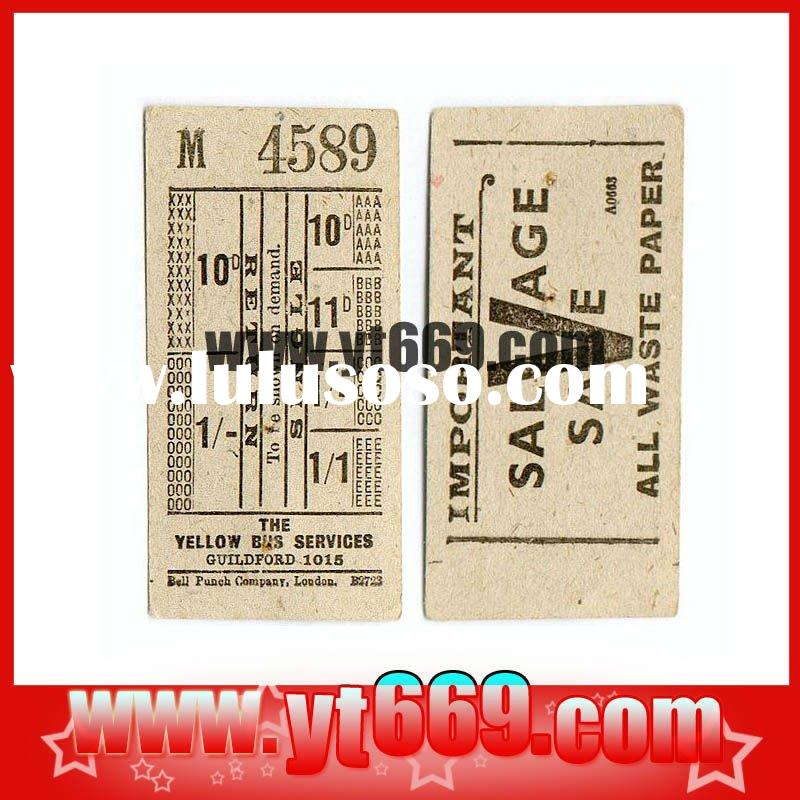 Embossed textured bus ticket