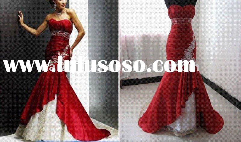 Embroidery white and red mermaid lace real model wedding dress 2011 hot