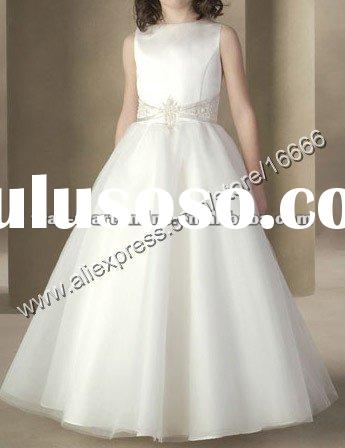 FL0125 Cute A Line Ribbon Ivory Satin Floor Length Flower Girl Dress 2012
