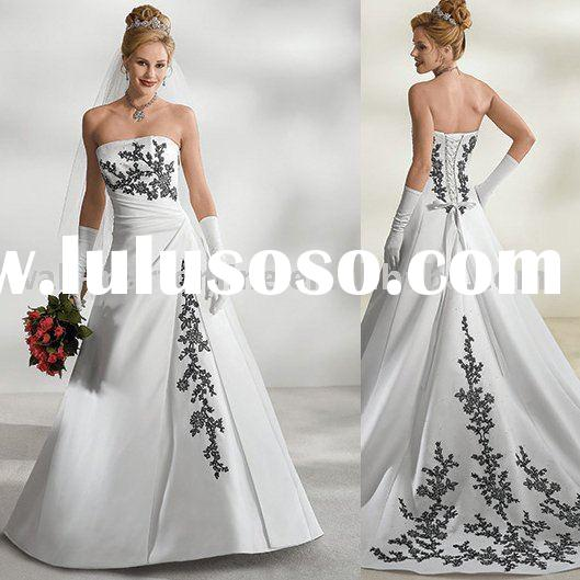 Free Shipping CW058 New Arrial A Line Offf Shoulder White Satin Black Lace Wedding Gown