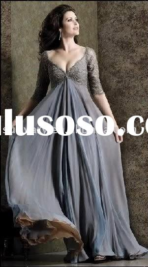 Free Shipping Elegant gray v-neckline evening dresses prom dresses party dresses long sleeves empire