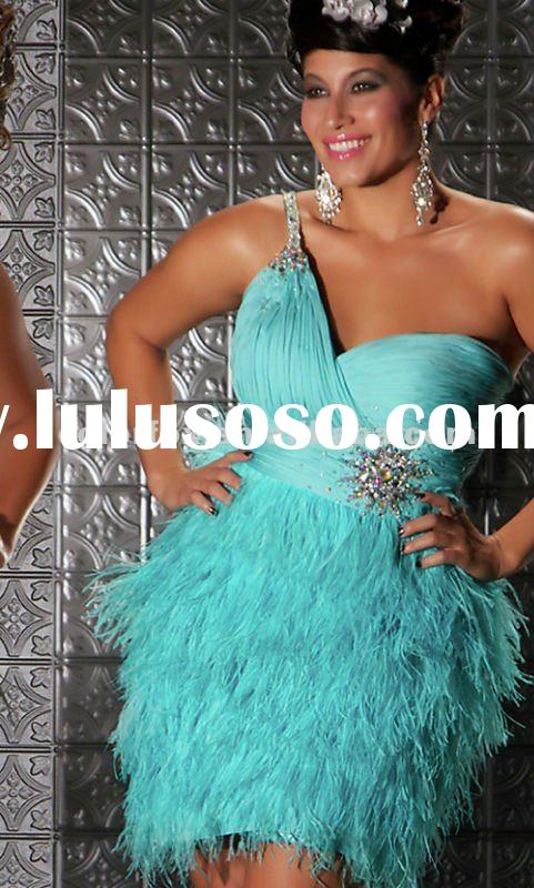 Gorgeous One Shoulder Sequin Embellishment Feather Skirt Plus Size Short Dress
