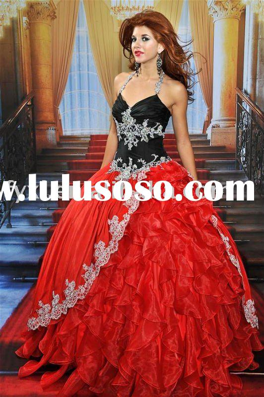 HS-90 black and red wedding dress