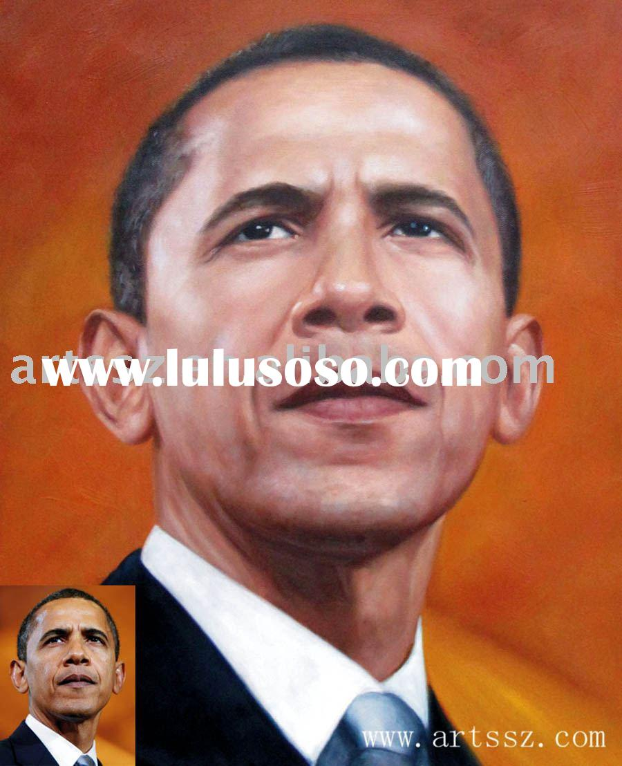 Handmade Portrait(Obama) Oil Painting On Canvas(1)
