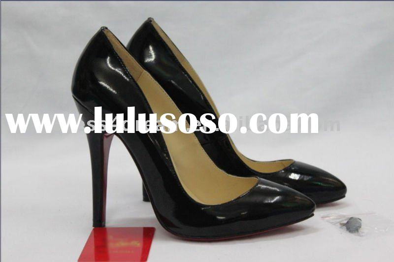 High heel black genuine leather name brand shoes cheap for women