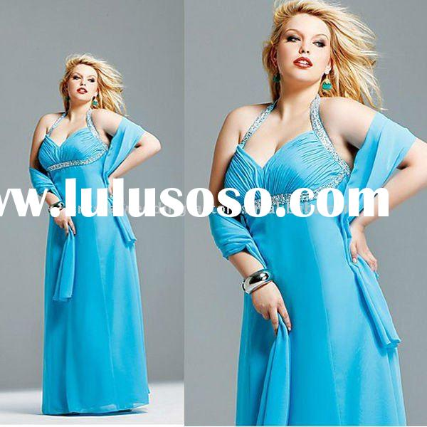 High quality halter beaded organza floor length plus size prom dress with stole CWFap220