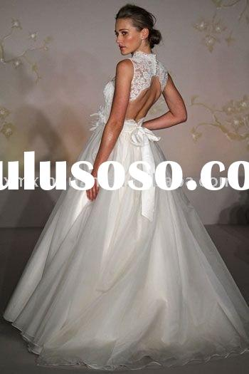 JHW049 Free shipping sleeveless lace embroidery organza skirt open back wedding dress