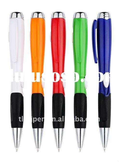 LED light ball pen with rubber grip