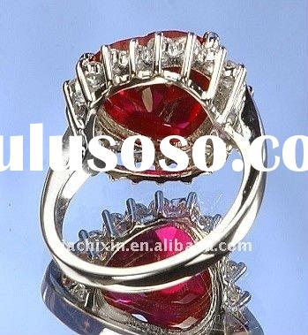 Large Rich Sterling Silver Red Diamond CZ Heart Shaped Ruby Ring