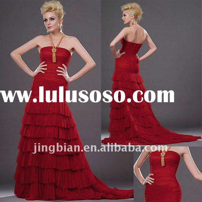 Layered evening dress for special ocassions 2012 Red Party Dress Long Prom Lady Dresses ED339