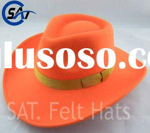 Men's Fashion 100% Wool Felt Blaze Orange Cowboy Hat