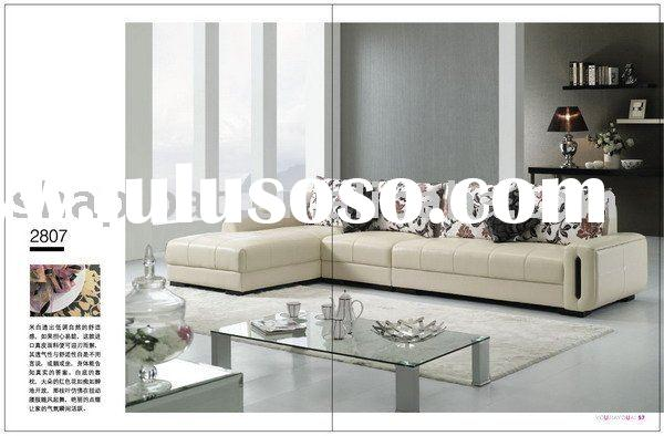 Modern design fashion light yellow simple design leather sofa couch set home furniture 2807